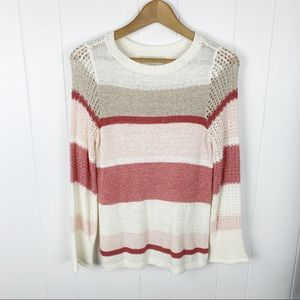 Loft open weave pink white and tan stripe Sweater